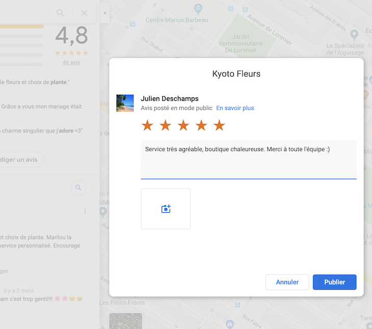 Capture d'écran, notation sur Google Review